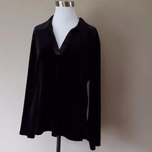 Pullover Black Velvet Top Chico's Medium Stretchy
